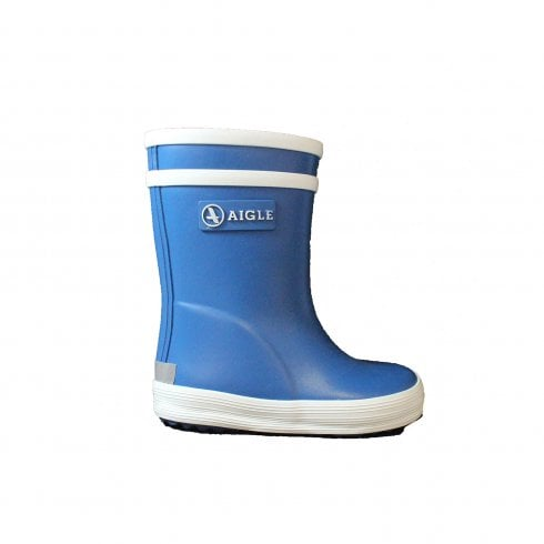 Aigle Baby Flac Blue Rubber Wellington Boot