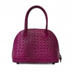 Burford Grab Magenta Pink Leather Crocodile Embossed Tote Bowling Bag