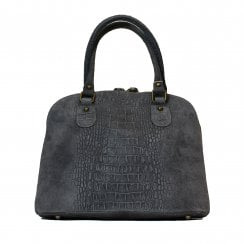 Burford Grey Croc Embossed Leather Small Grab Bag