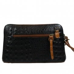 Ely Black & Tan Croc Effect Cross Body Handbag