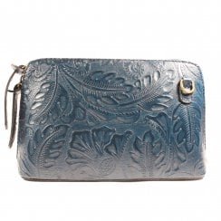 Ely Florens Navy Floral Embossed Leather Bag