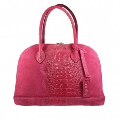 Harrow Fuchsia Pink Suede Leather Tote Handbag