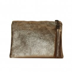 Hopton Gold Textured Leather Flat Clutch Bag