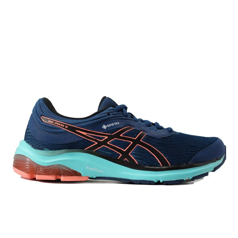 Asics Gel-Pulse 11 GTX Mako Blue/Sun Coral Mesh Womens Lace Up Running Trainers