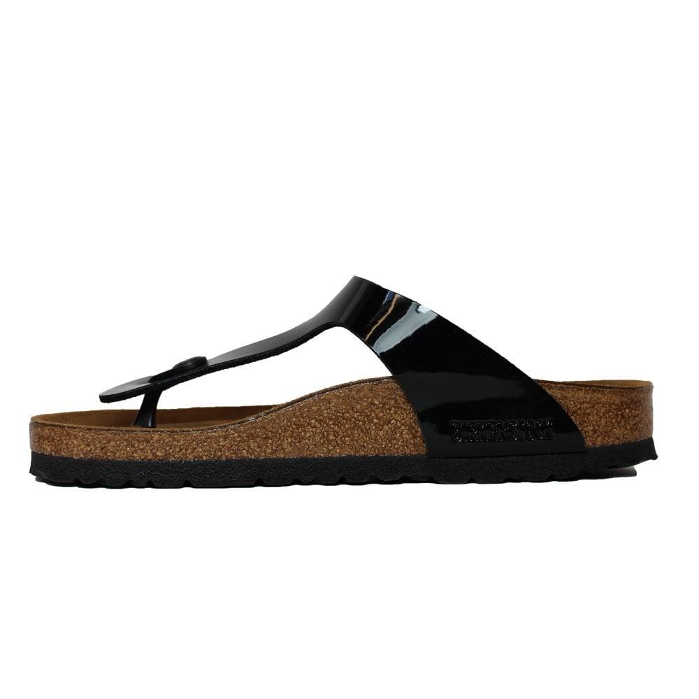 ... Birkenstock Gizeh Black Patent Leather Womens Slip On Toe Post Sandal  ... 6568557a8a