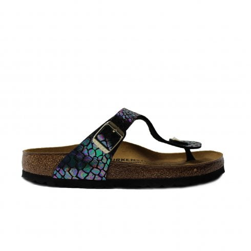 e2008e22103 Birkenstock Gizeh Black Snake Leather Slip On Womens Toe Post Sandals - UK 3
