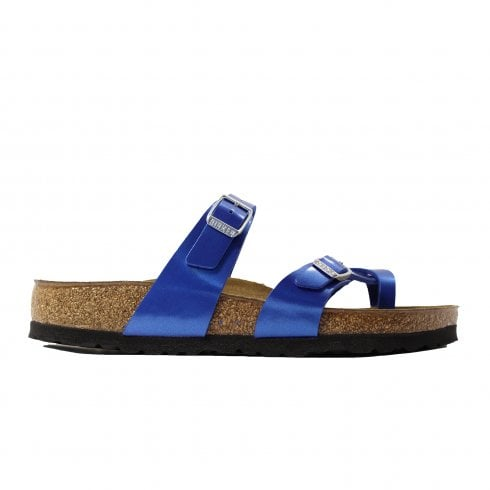 Birkenstock Mayari Metallic Ocean Blue Womens Slip On Mule Sandals