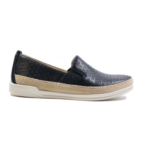 CAPRICE 24201-20 Navy Leather Womens Slip On Casual Shoe