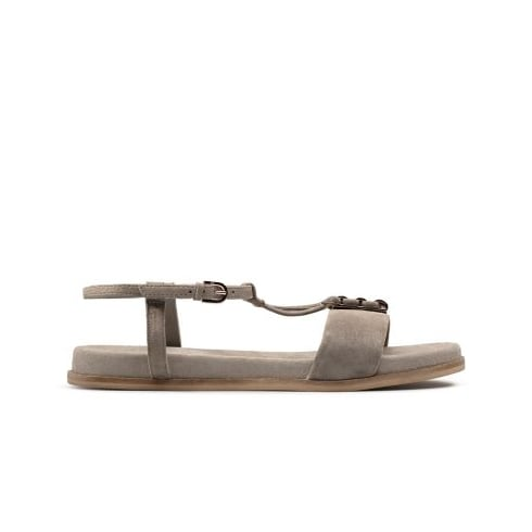 Clarks Agean Cool Sage Grey Leather Womens Strappy Sandal