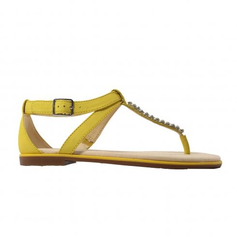 Clarks Bay Poppy Yellow Leather Womens T Bar Sandals - Clarks from North  Shoes UK