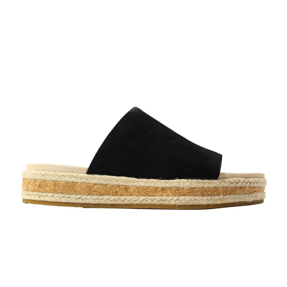 596787796cd Botanic Iris Black Suede Leather Womens Slip On Mule Sandals