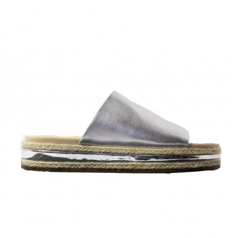 65d894b51bb Clarks Botanic Iris Metallic Silver Leather Womens Slip On Mule Sandals -  Clarks from North Shoes UK