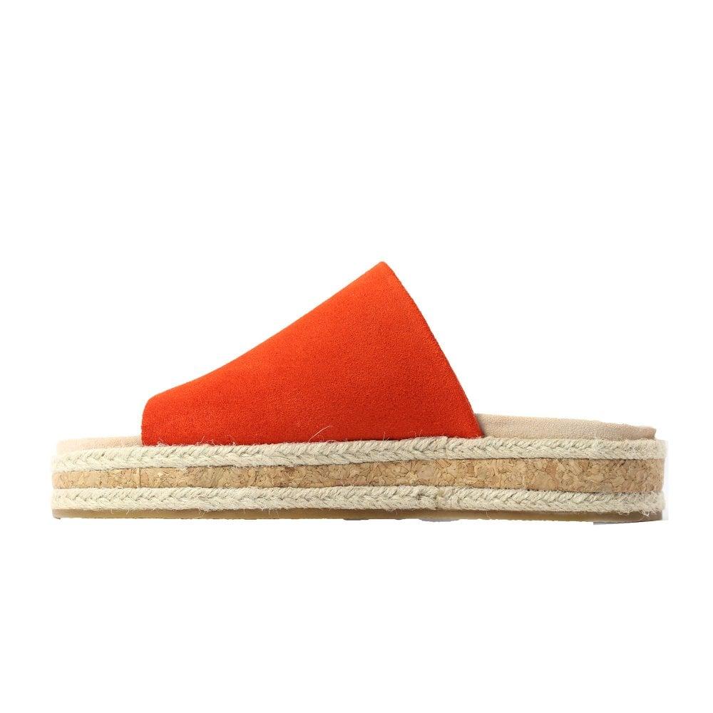 2a625fc6203 ... Clarks Botanic Iris Orange Suede Leather Womens Slip On Mule Sandals ...