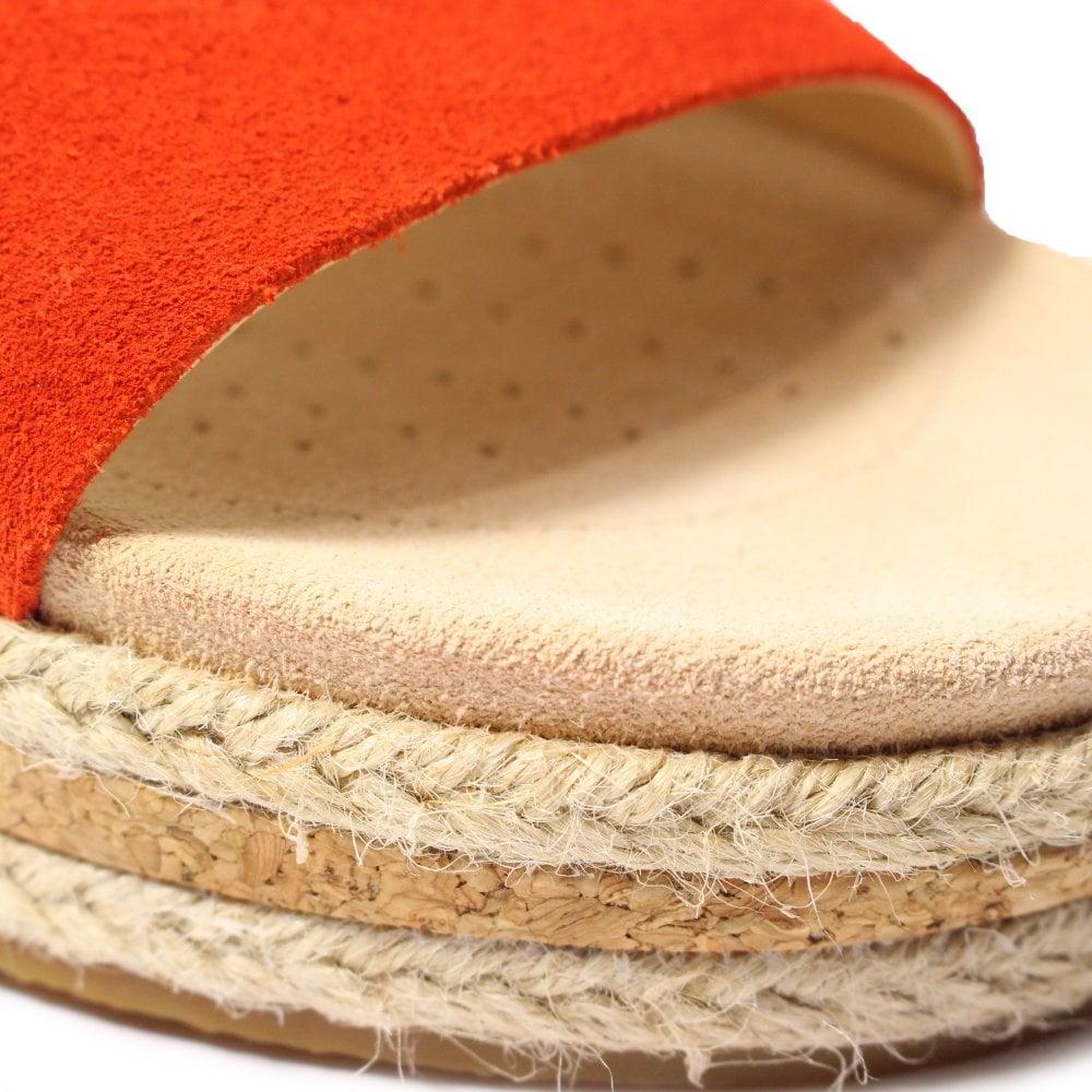 8527792cec0 Clarks Botanic Iris Orange Suede Leather Womens Slip On Mule Sandals ...