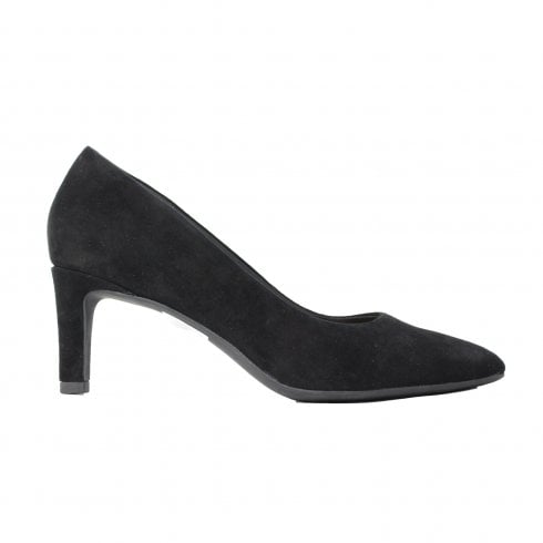 5efbf2b5b96d Clarks Calla Rose Black Suede Leather Womens Slip On Court Shoe - Clarks  from North Shoes UK