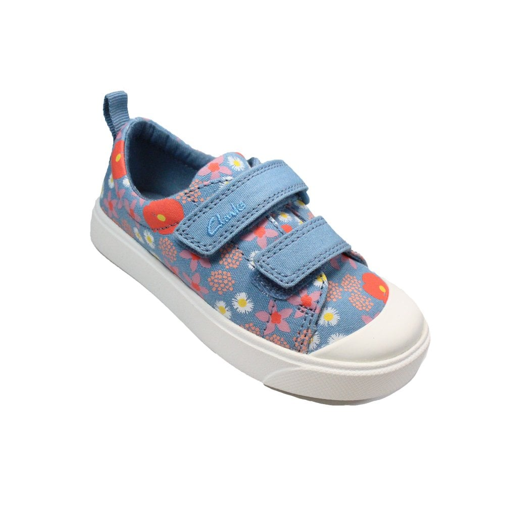Clarks City Bright Toddler Pink Floral Canvas Childrens Rip Tape Casual Shoes