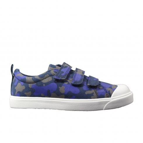 Clarks City Flare Junior Navy Camouflage Boys Rip Tape Trainer Shoes