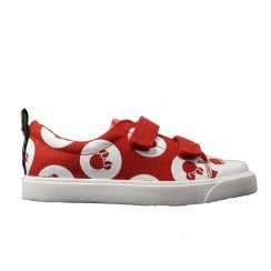 City Polka Lo Infant Red Combination Canvas Girls Rip Tape Casual Shoes