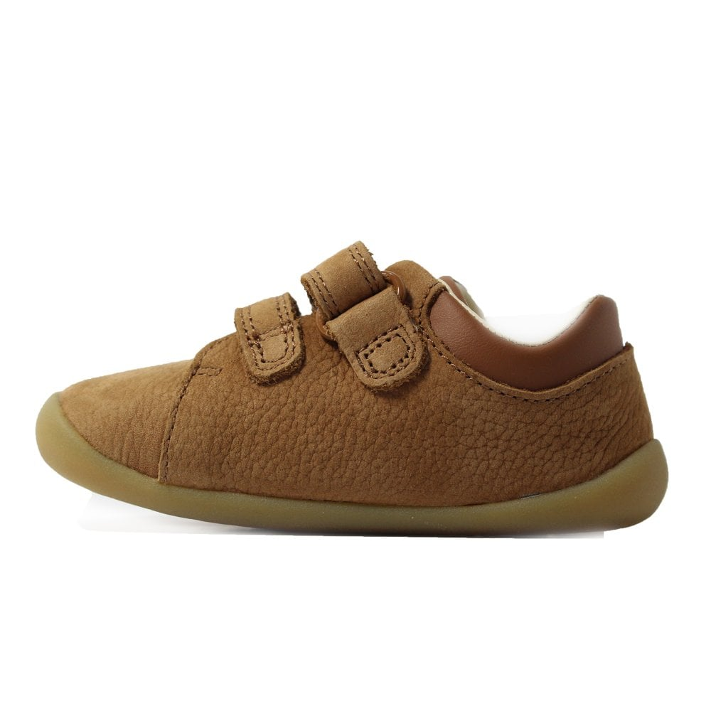 35dd0702cc2bf ... Clarks CLA Roamer Craft Infant Tan Leather Childrens Pre Walker Rip  Tape Shoes ...