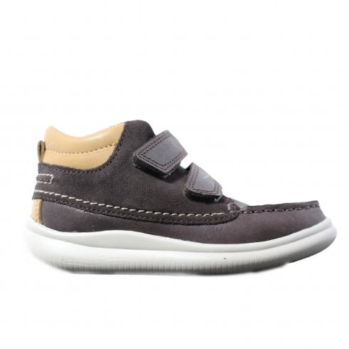 Clarks Cloud Tuktu First Step Brown Combination Leather Boys Rip Tape Moccasin Boot