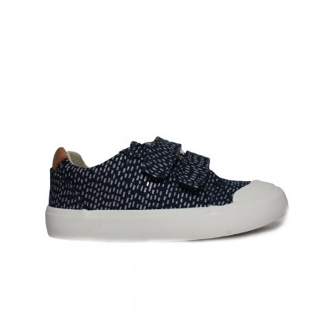 d38c0e0964f Clarks Comic Cool Navy Combination Girls Rip Tape Canvas Shoe - Clarks from  North Shoes UK