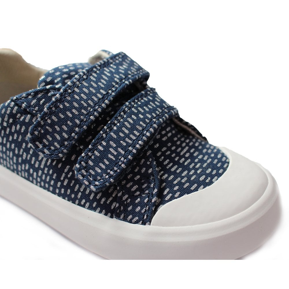 3d12887dd66 Clarks Comic Cool Navy Combination Girls Rip Tape Canvas Shoe ...