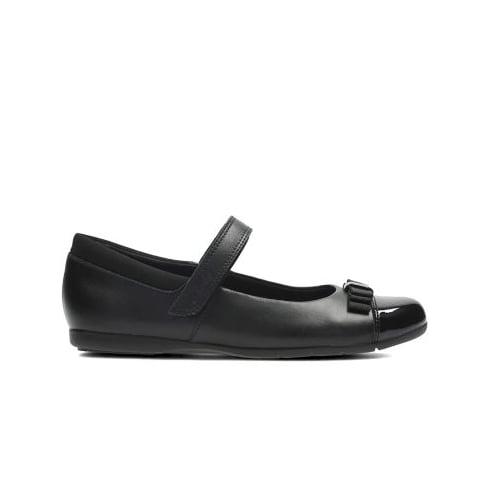 CLARKS Dance Shout Inf Black/Black Patent Girls School Shoe