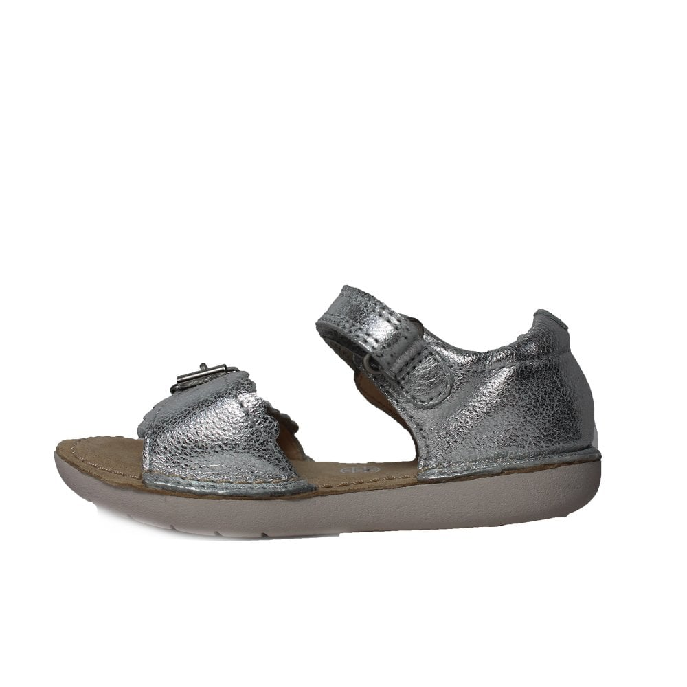 3cf8c0b1317 ... Clarks Ivy Flora Silver Leather Girls Open Toe Rip Tape Sandal ...