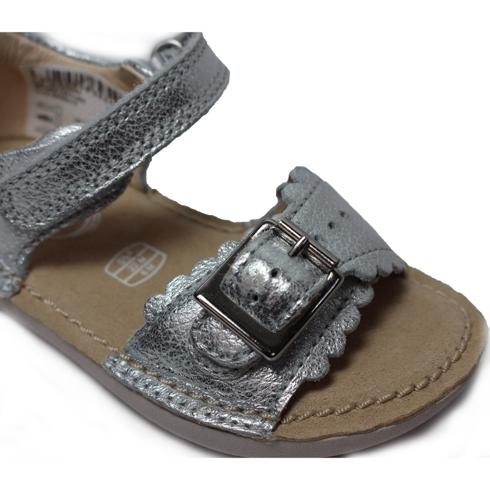 4c1cbbeee00 Clarks Ivy Flora Silver Leather Girls Open Toe Rip Tape Sandal ...