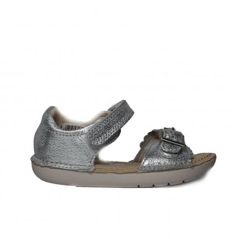 9095d5398c5 Clarks Ivy Flora Silver Leather Girls Open Toe Rip Tape Sandal - Clarks  from North Shoes UK