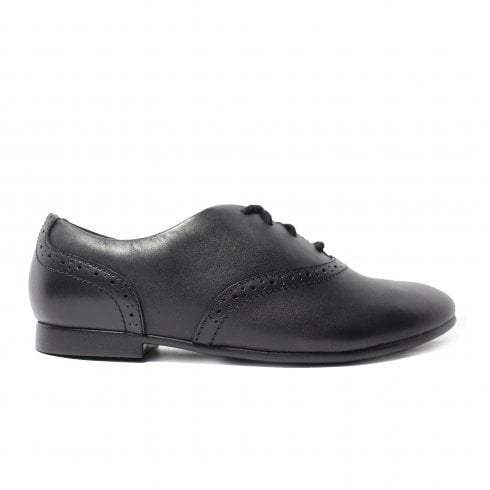 Clarks Jules Walk Black Leather Girls Lace Up Brogue School Shoe
