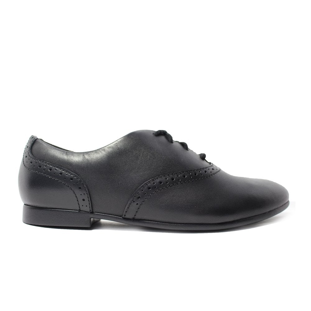 F G /& H Fittings Girls Clarks Jules Walk Black Leather Lace Up School Shoes E