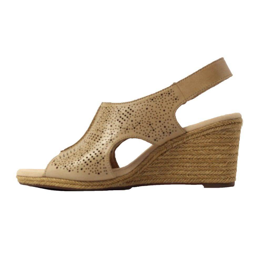 4b63cf3fed2 Lafley Rosen Sand Beige Leather Womens Wedge Sandals