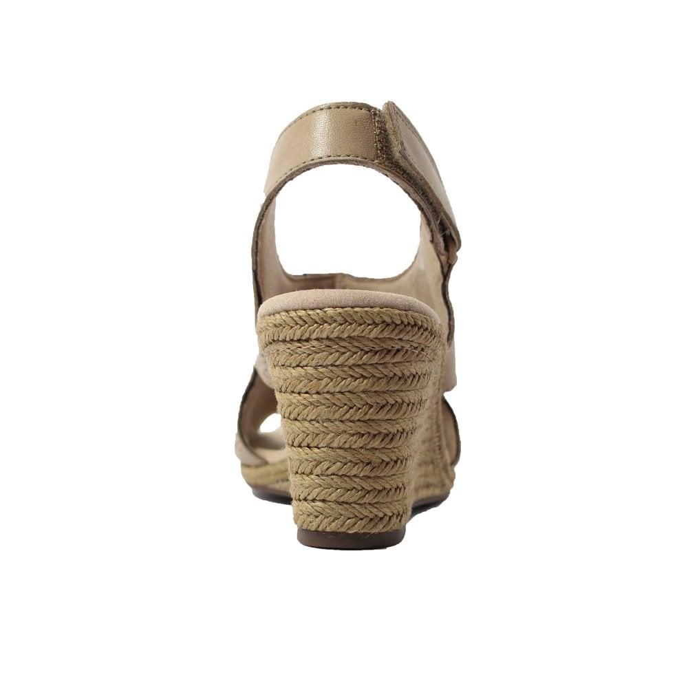 a17e49489422 Clarks Lafley Rosen Sand Beige Leather Womens Wedge Sandals - Clarks ...