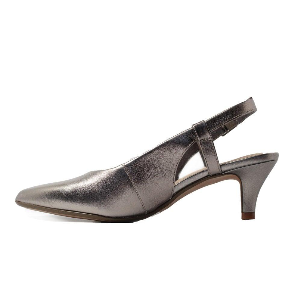 af3a78c79d ... Clarks Linvale Loop Pewter Metallic Leather Sling Back Kitten Heel Shoes  ...