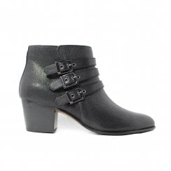 Maypearl Rayna Black Leather Womens Heeled Ankle Boot