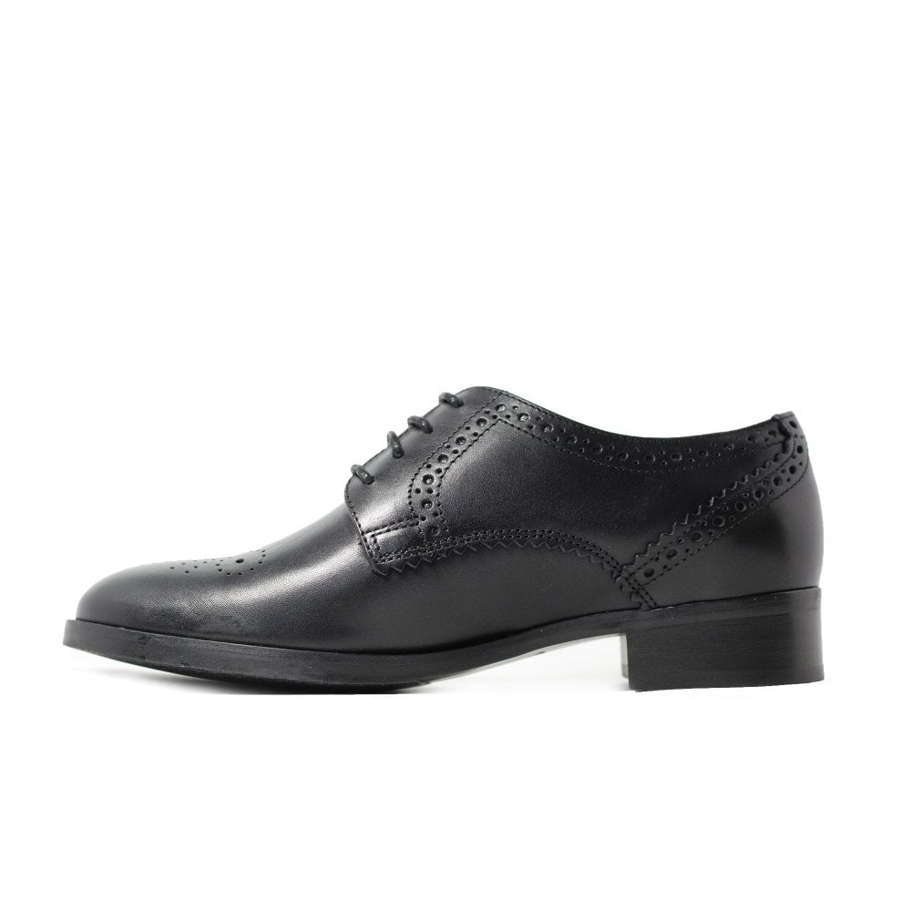 539dc338cf9e Clarks Netley Rose Black Leather Womens Lace Up Brogue Shoe - Clarks ...