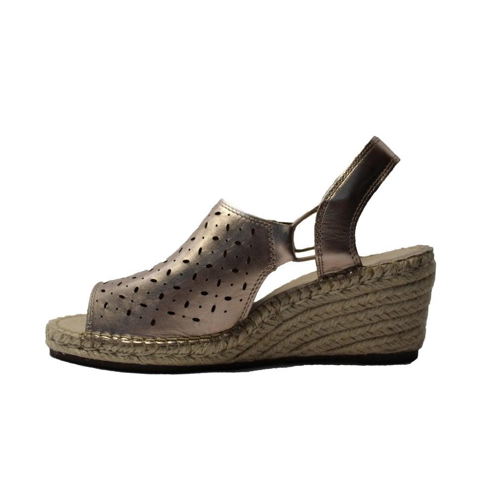 d3af1b2c7be ... Clarks Petrina Gail Gold Metallic Leather Womens Wedge Sandal ...