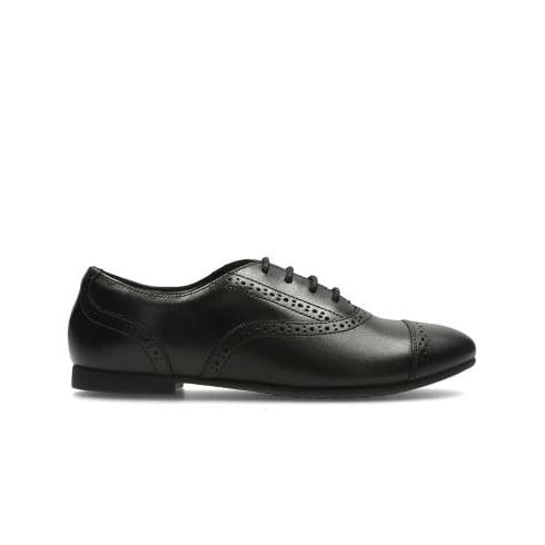 CLARKS Selsey Cool Junior Black Girls School Shoe
