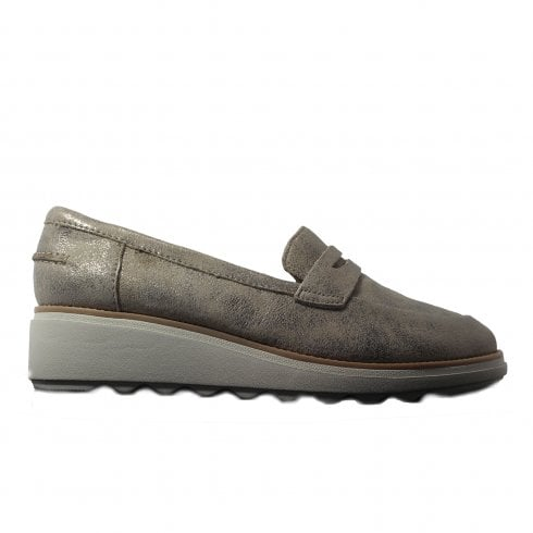 de2309cd553b7 Clarks Sharon Ranch Pewter Metallic Leather Womens Slip On Loafer Shoes -  Clarks from North Shoes UK