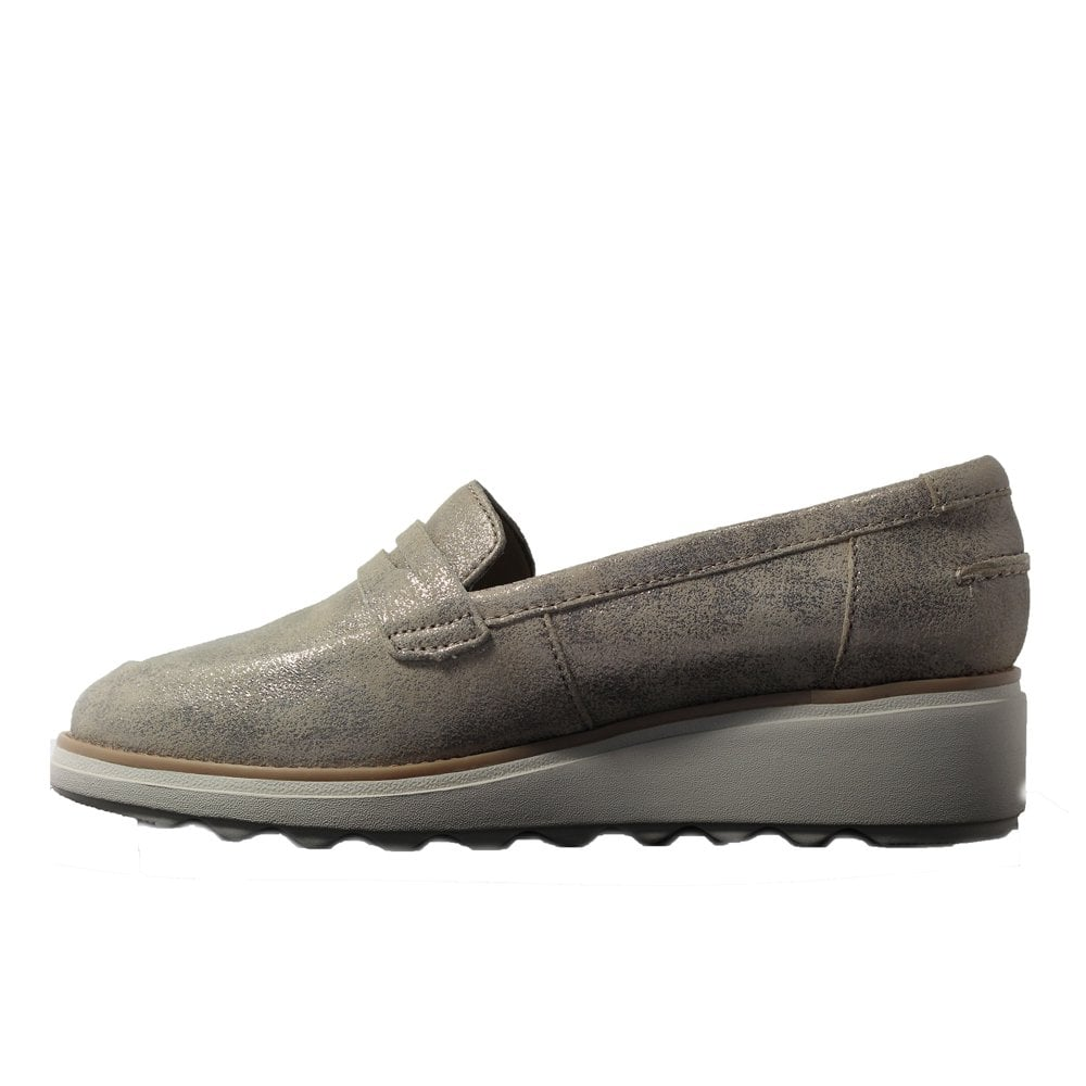 8f4b7c4e6d276 ... Clarks Sharon Ranch Pewter Metallic Leather Womens Slip On Loafer Shoes  ...