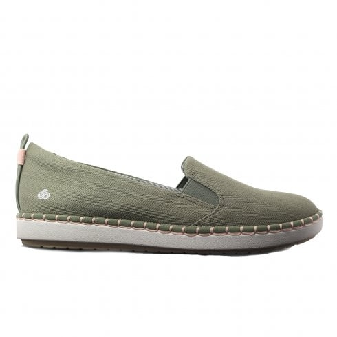 eab35e0d4f Clarks Step Glow Slip Olive Canvas Womens Slip On Casual Shoes - Clarks  from North Shoes UK