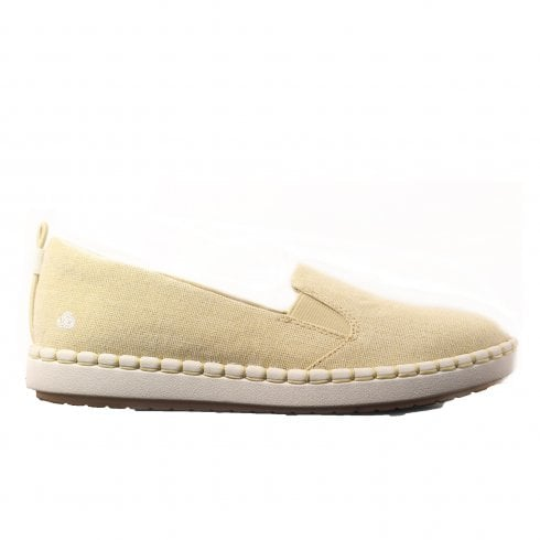 a659bfe644 Clarks Step Glow Slip Soft Gold Canvas Womens Slip On Casual Shoes - Clarks  from North Shoes UK