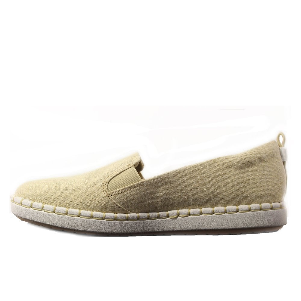 2929939c1d ... Clarks Step Glow Slip Soft Gold Canvas Womens Slip On Casual Shoes ...
