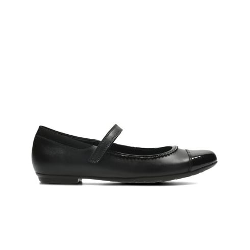 CLARKS Tizz Ace Black Girls School Shoe