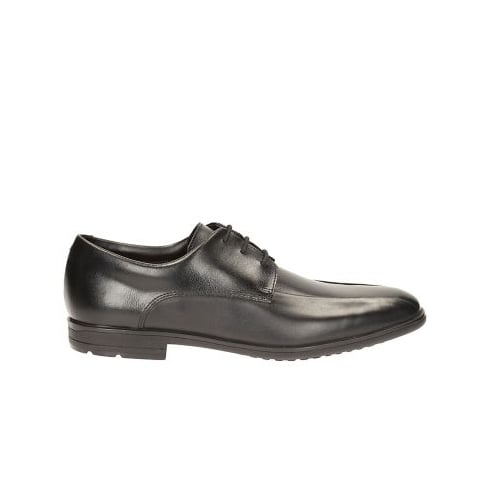 Clarks Willis Lad Black Leather Boys Formal Lace Up School Shoe
