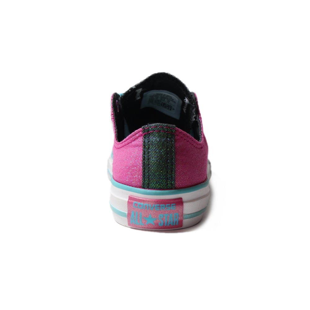 5a817c93a9df ... Converse Chuck Taylor All Star Double Tongue 656035C Magenta Glitter  Canvas Girls Lace Up Shoe ...