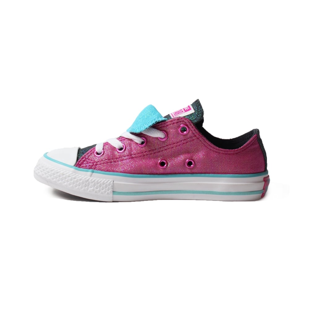 ed5ca296ae3d63 ... Converse Chuck Taylor All Star Double Tongue 656035C Magenta Glitter  Canvas Girls Lace Up Shoe ...