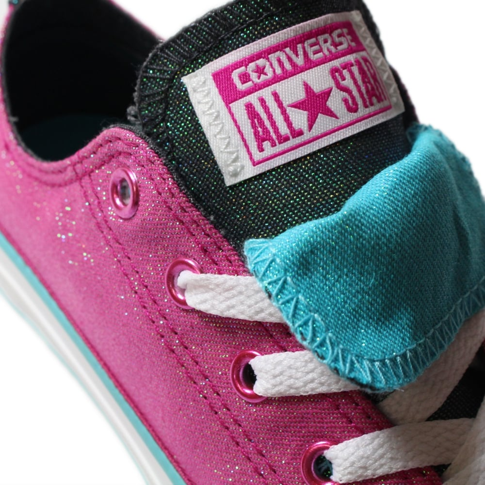 f8bb02d042cfae ... Converse Chuck Taylor All Star Double Tongue 656035C Magenta Glitter  Canvas Girls Lace Up Shoe