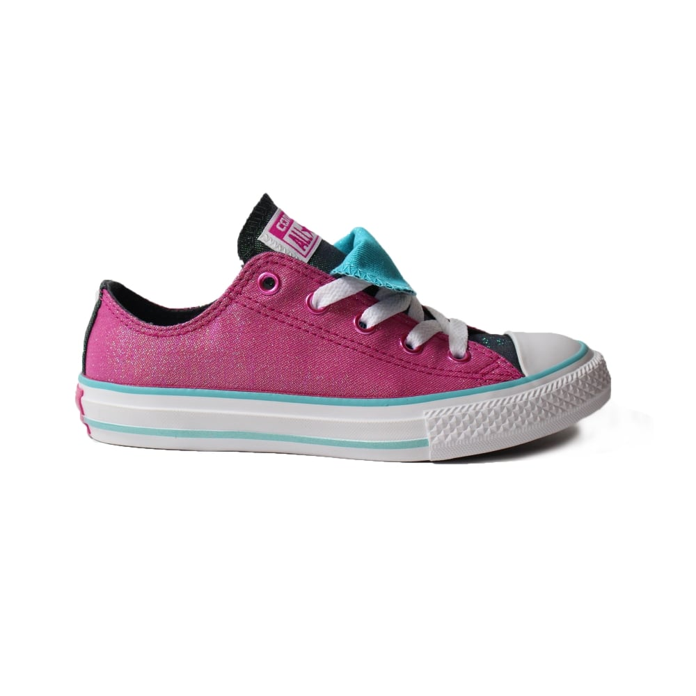 cc58d77fae Converse Chuck Taylor All Star Double Tongue 656035C Magenta Glitter Canvas  Girls Lace Up Shoes